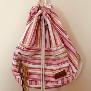 Aeropostale Pink & Orange Striped Canvas Backpack